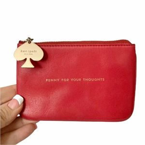 EUC Rare Kate Spade Red Leather Penny Thoughts Striped Colorful Mini Clutch Bag
